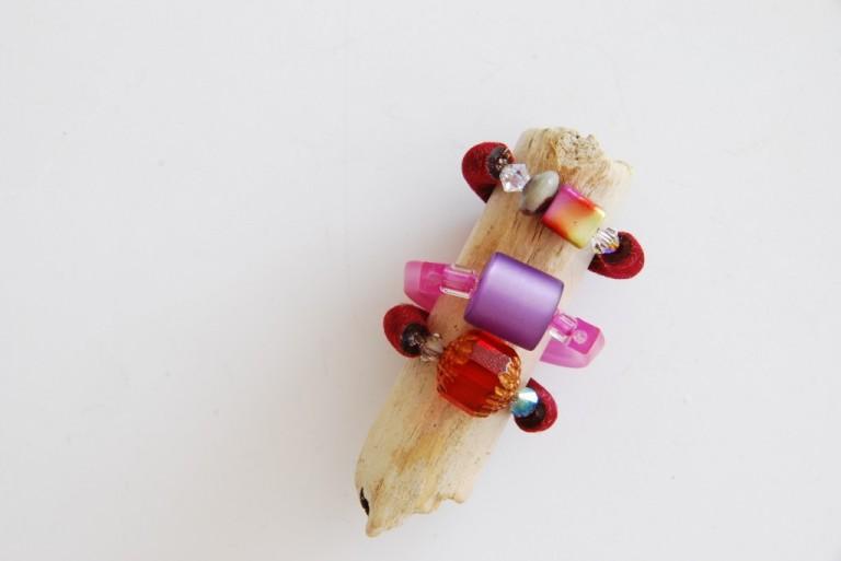 Ringe aus Schlauchmaterial, Swarovskiperlen, Jaspis, Vintageglasperlen und Polarisperlen