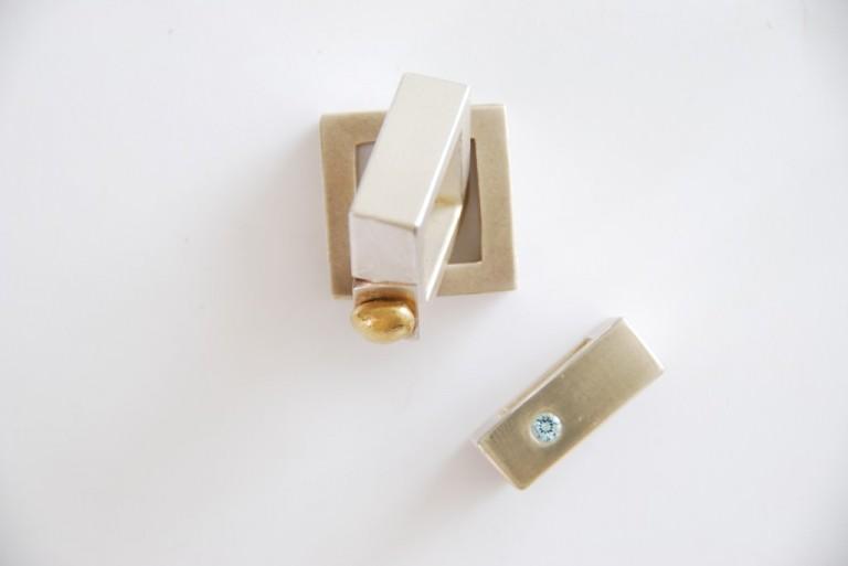 Silberringe, Oberfläche glatt, mit Goldelement, mit Aquamarin